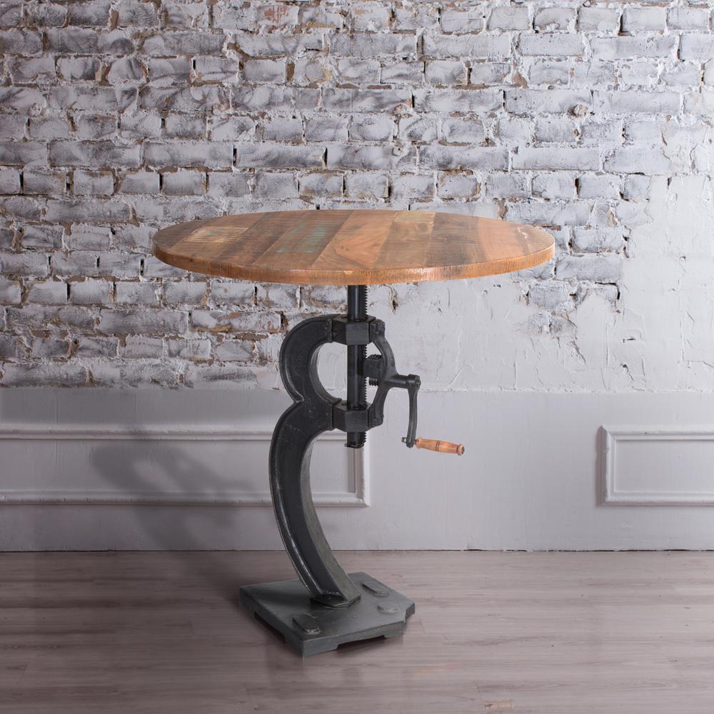 Cast Iron and Natural Mango Adjustable Bar Table