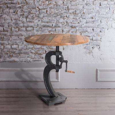 Cast Iron and Natural Mango Adjustable Bar Table