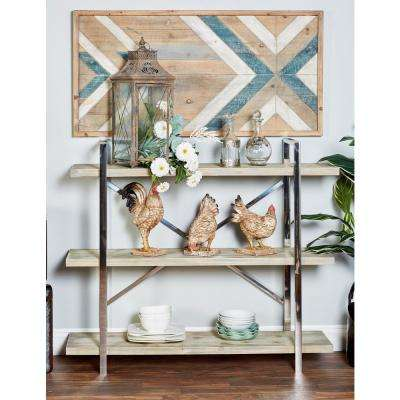 Brown 3-Tier Wooden Shelf with Silver Stainless Steel Frame