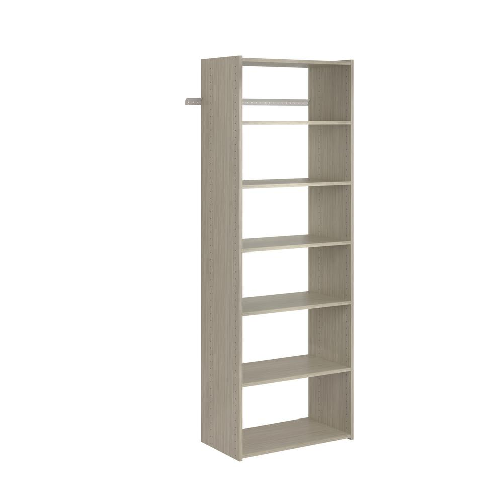Closet Evolution Essential Shelf 25 in. W Rustic Grey Wood Closet Tower