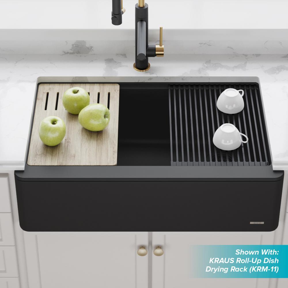 Bellucci Farmhouse/Apron-Front Granite/Quartz Composite 33 in. Single Bowl Kitchen Sink with Cutting Board in Black