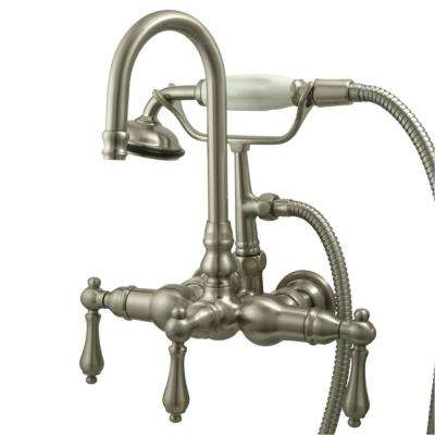 Vintage 3-3/8 in. Centers 3-Handle Claw Foot Tub Faucet with Handshower in Brushed Nickel