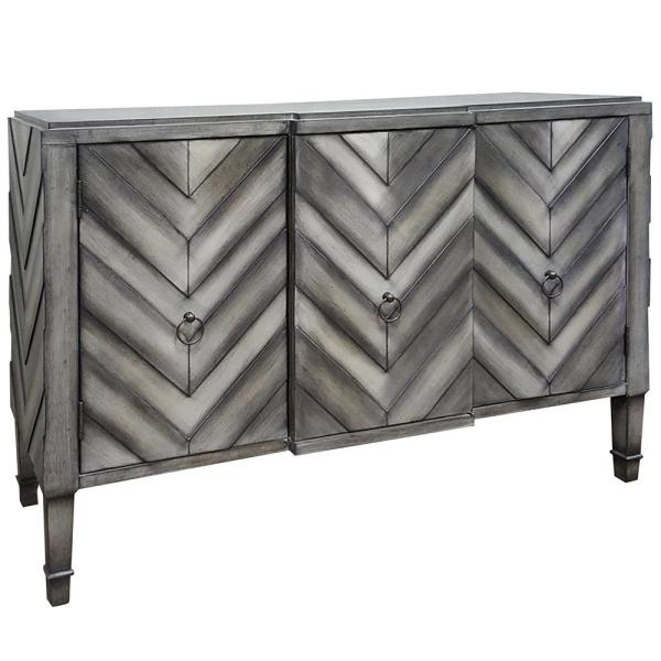 Grey Slate Chevron Patterned Three Door Reclaimed Wood TV Console
