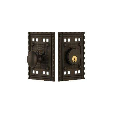Craftsman Plate 2-3/8 in. Backset Single Cylinder Deadbolt in Oil-Rubbed Bronze
