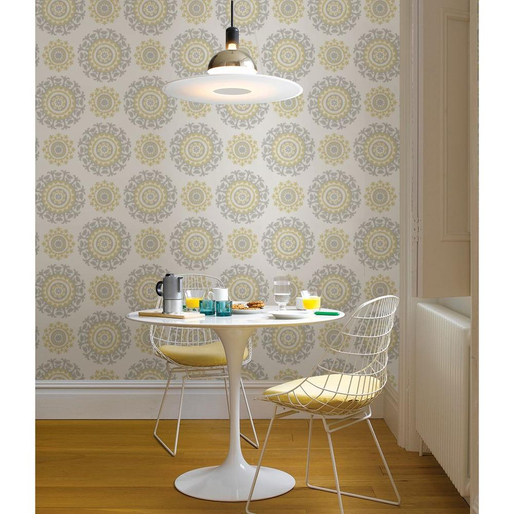 Nuwallpaper sq ft grey and yellow suzani peel and for Paintable peel n stick wallpaper