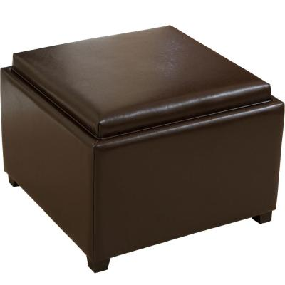 Wellington Brown Leather Tray Top Ottoman