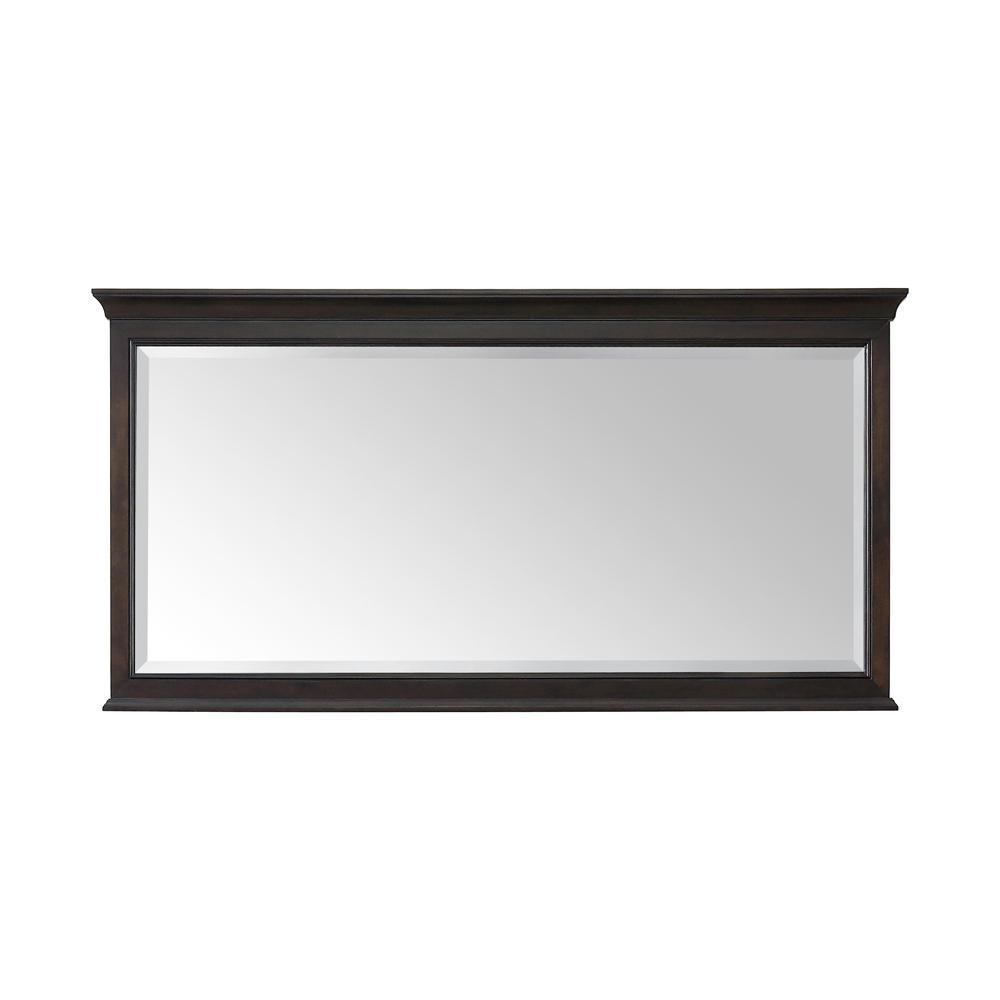 60.00 in. W x 31.00 in. H Framed Rectangular  Bathroom Vanity Mirror in Burnished Walnut