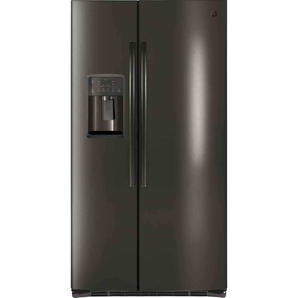 ge 36 in w 25 4 cu ft side by side refrigerator in black stainless steel fingerprint. Black Bedroom Furniture Sets. Home Design Ideas