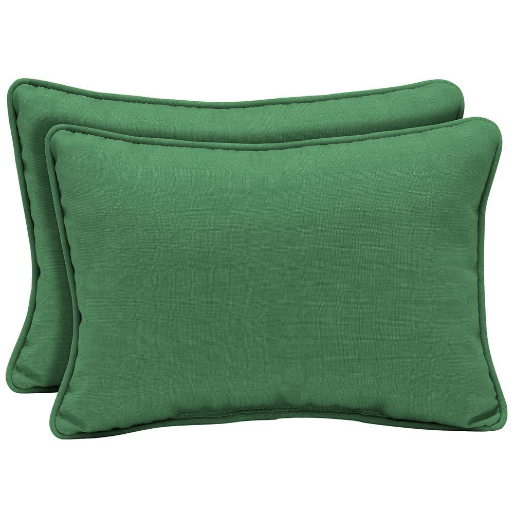 Arden Selections 22 x 15 Moss Leala Texture Oversized Lumbar Outdoor Throw Pillow (2-Pack)