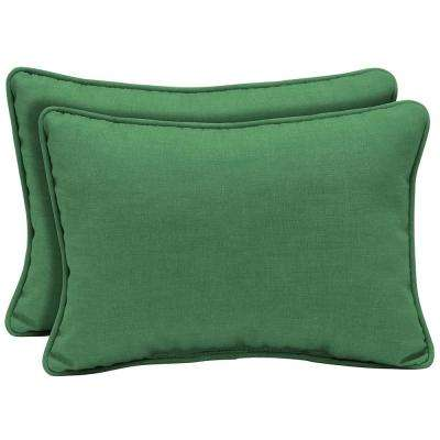 22 x 15 Moss Leala Texture Oversized Lumbar Outdoor Throw Pillow (2-Pack)
