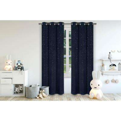 Luna Navy Blackout Grommet Panel Pair - 37 in. W x 84 in. L in (2-Piece)