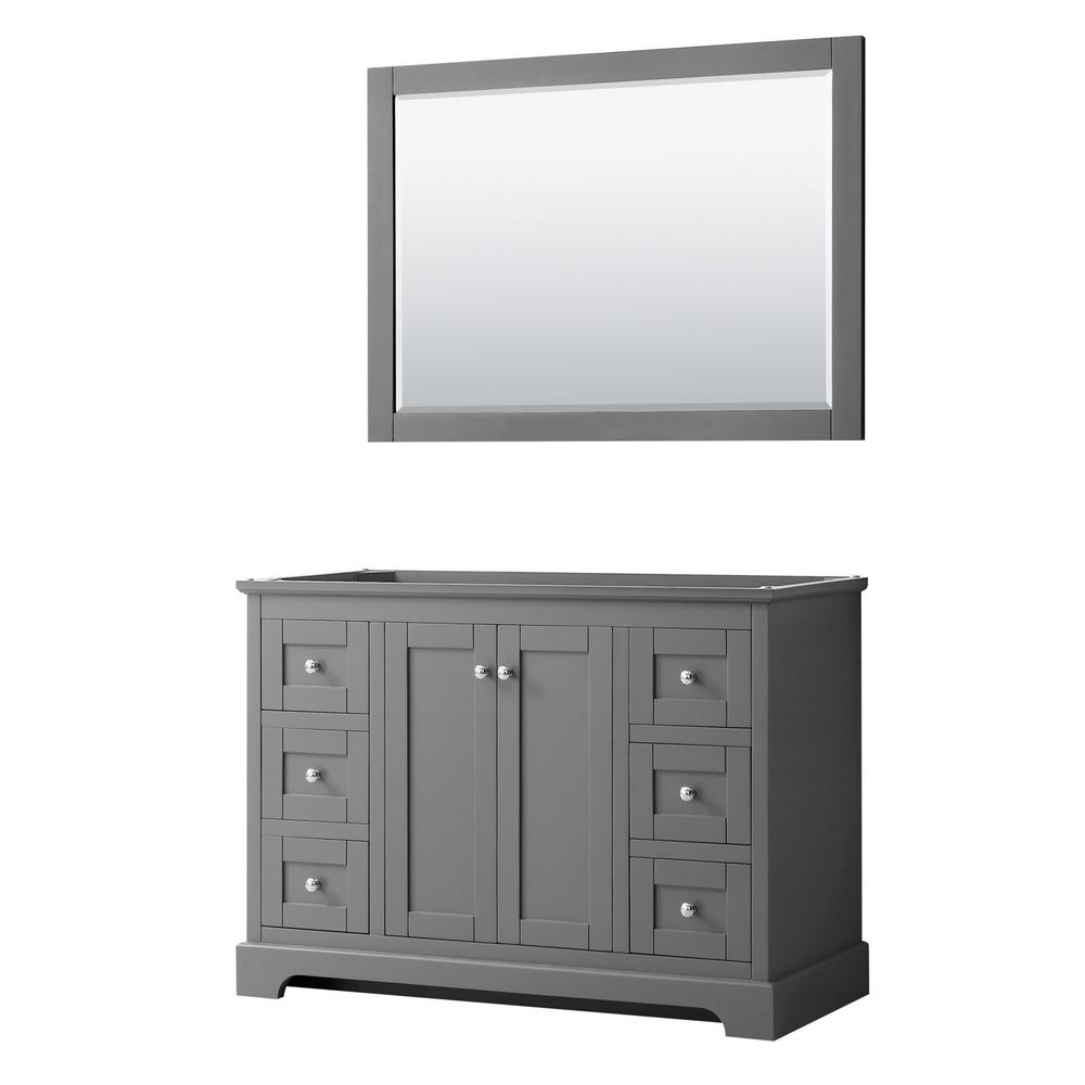 Wyndham Collection Avery 47.25 in. W x 21.75 in. D Bathroom Vanity Cabinet Only with Mirror in Dark Gray