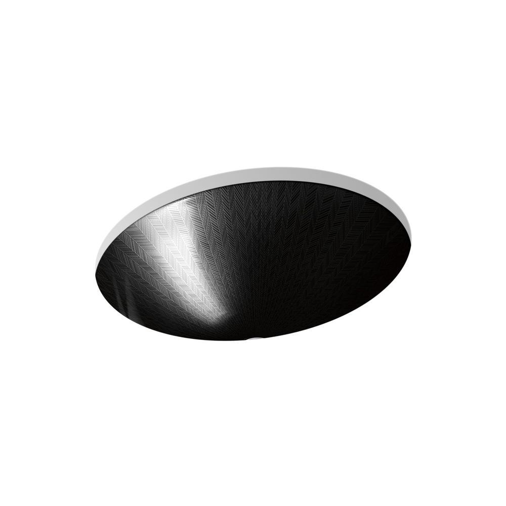 Sartorial Vessel Sink in Herringbone in Black on Caxton