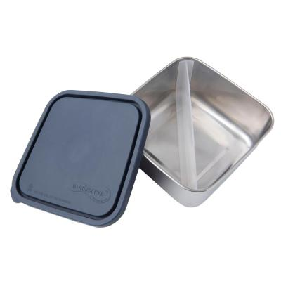 50 oz. Divided Stainless Steel Food Storage Container with Leak-Proof Lid