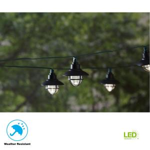 20-Light 231 in. Solar Black Integrated LED Nautical String Light