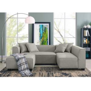 Handy Living Phoenix Dove Gray Linen Sectional Sofa with ...