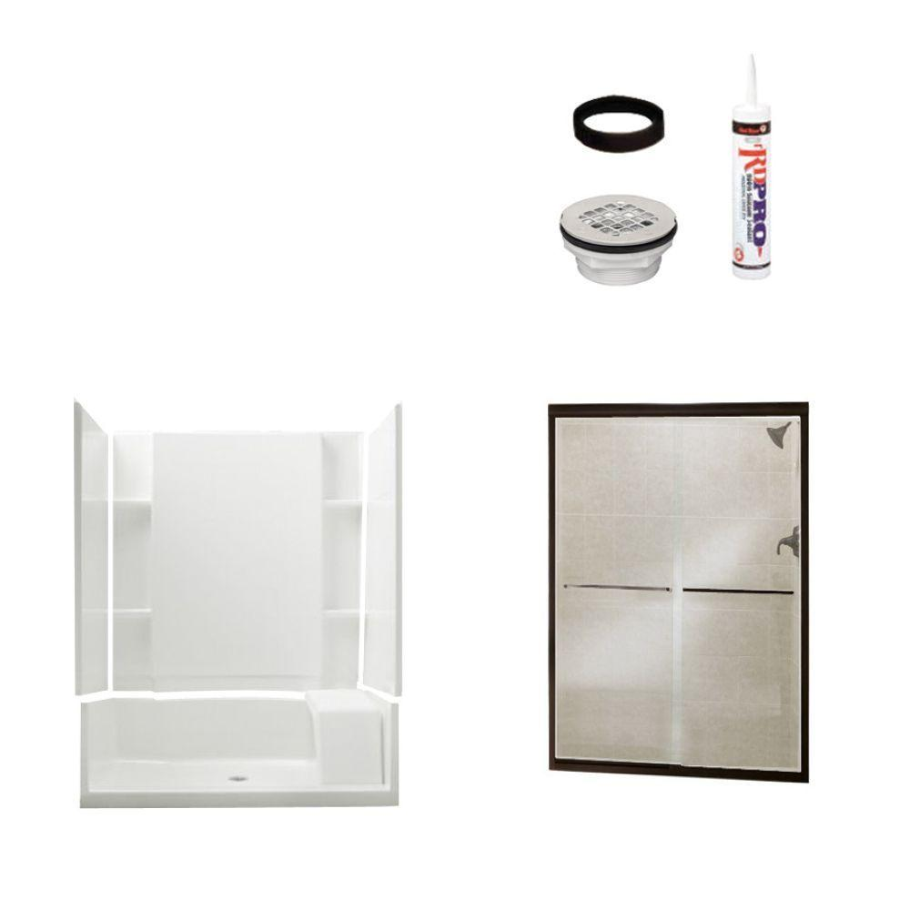 STERLING Accord Seated 36 in. x 60 in. x 74-1/4 in. Shower Kit with Shower Door in White/Oil Rubbed Bronze-DISCONTINUED