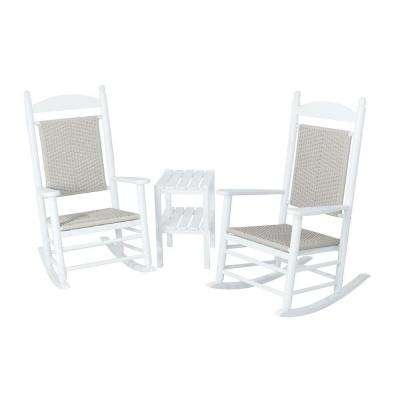 Jefferson White 3-Piece Woven Patio Rocker Set with White Loom Weave