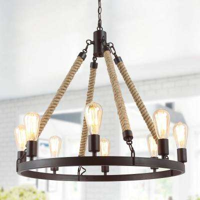 Mick 8-Light Classic Oil-rubbed Bronze Rustic Farmhouse Island Chandelier with Wagon Wheel and Rope Accents