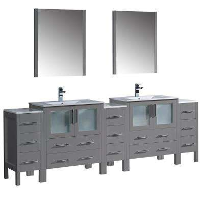 Double Vanity In Gray With Ceramic Vanity Tops In White With White