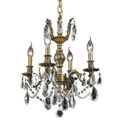 4-Light Antique Bronze Chandelier with Clear Crystal