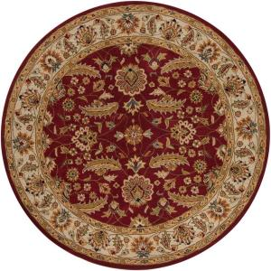 John Red 4 Ft. X 4 Ft. Round Area Rug