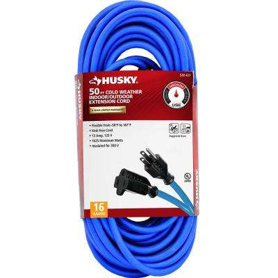 50 ft. 16/3 (-50°) Cold Weather Indoor/Outdoor Extension Cord, Blue