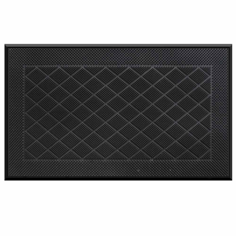 TrafficMaster TrafficMASTER Stud Pattern Black 18 in. x 30 in. Pin Door Mat, Black Color Rubber Pin