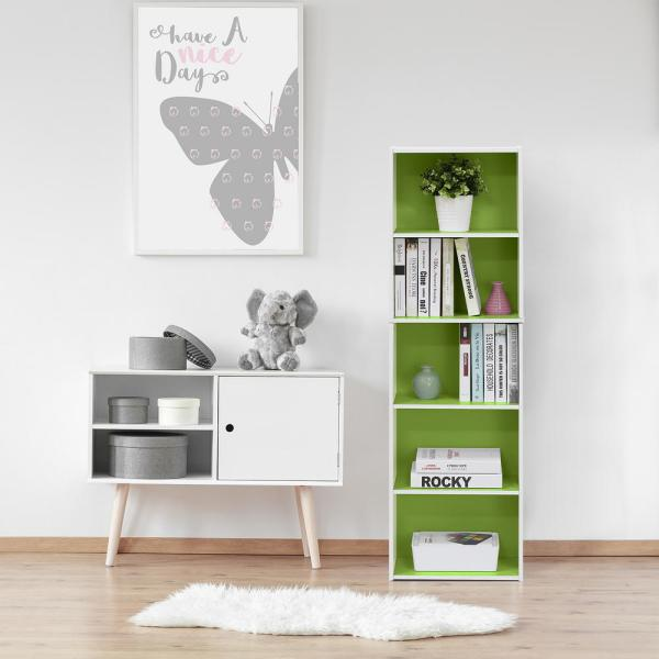 Furinno White and Green 5-Tier Reversible Color Open Shelf Bookcase 11055WH/GR