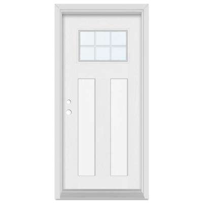 32 in. x 80 in. Infinity Right-Hand Craftsman Finished Fiberglass Mahogany Woodgrain Prehung Front Door Brickmould