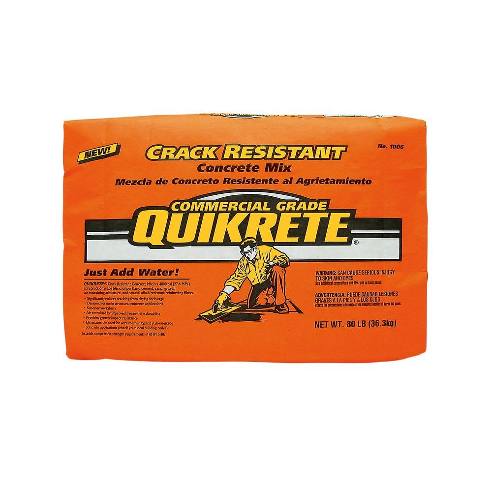Quikrete 80 Lb Crack Resistant Concrete Mix 100680 The Home Depot