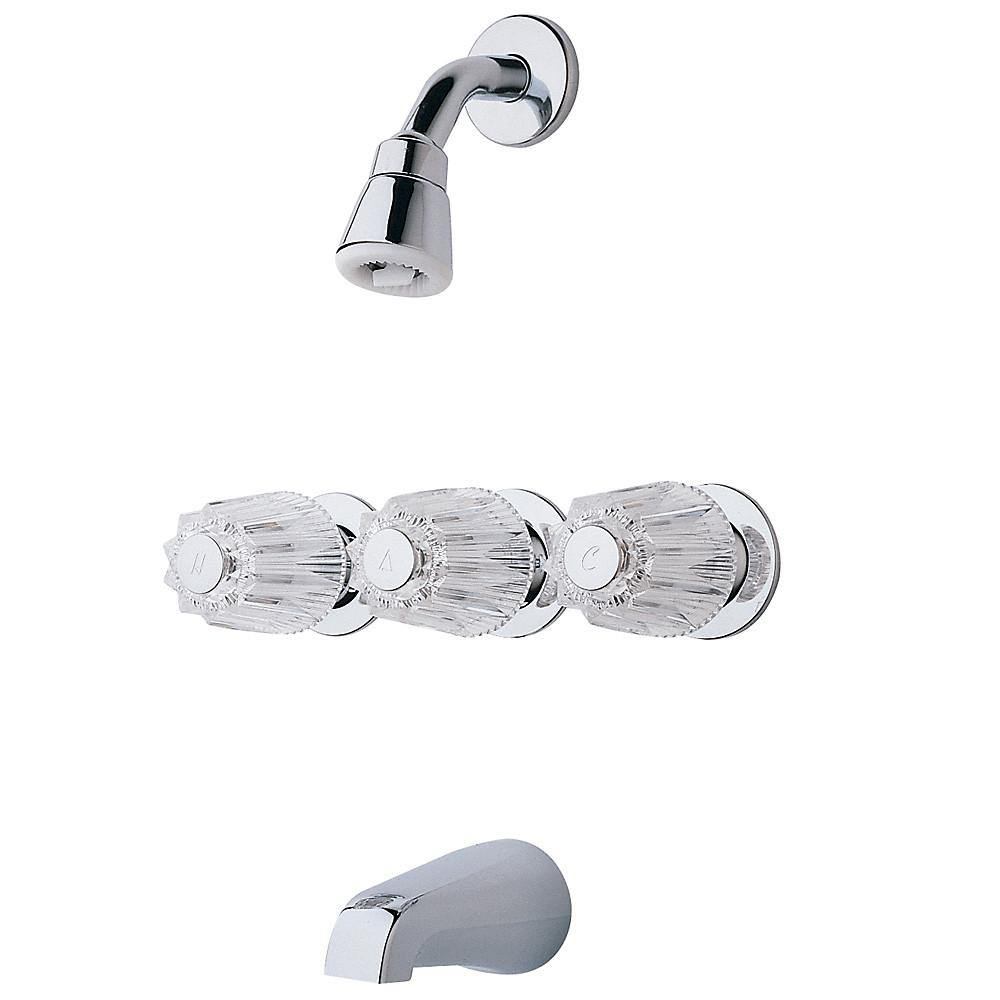 pfister pfister 3 handle 1 spray tub and shower faucet with metal knob handles in polished. Black Bedroom Furniture Sets. Home Design Ideas