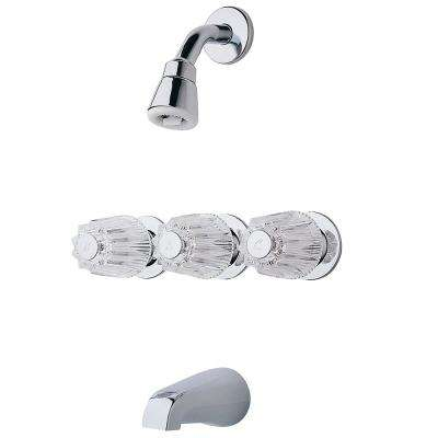Pfister 3-Handle 1-Spray Tub and Shower Faucet with Metal Knob Handles in Polished Chrome (Valve Included)