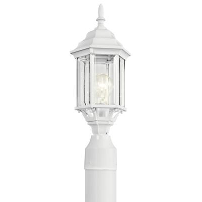 Chesapeake 1-Light Light White Outdoor Post Light with Clear Beveled Glass Panels