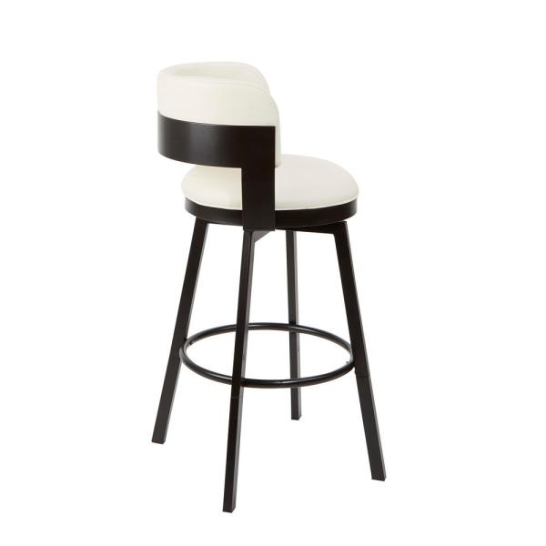 Silverwood Furniture Reimagined Everett Adjustable 24 In 29 In White Upholstered Swivel Bar Stool Cpfb1680b The Home Depot