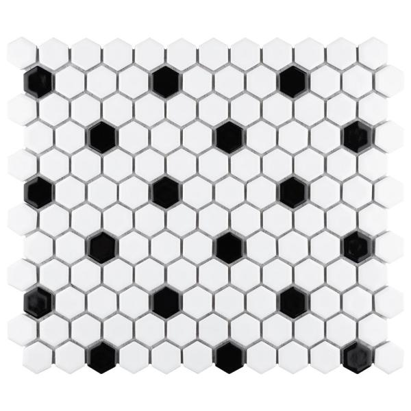Metro Hex Glossy White with Black Dot 10-1/4 in. x 11-7/8 in. x 6 mm Porcelain Mosaic Tile (8.65 sq. ft. / case)