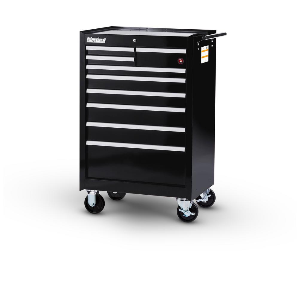 International Workshop Series 27 inch 9-Drawer Roller Cabinet Tool Chest in Black by International