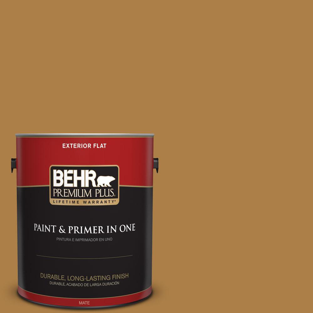 BEHR Premium Plus 1-gal. #M280-7 24 Karat Flat Exterior Paint