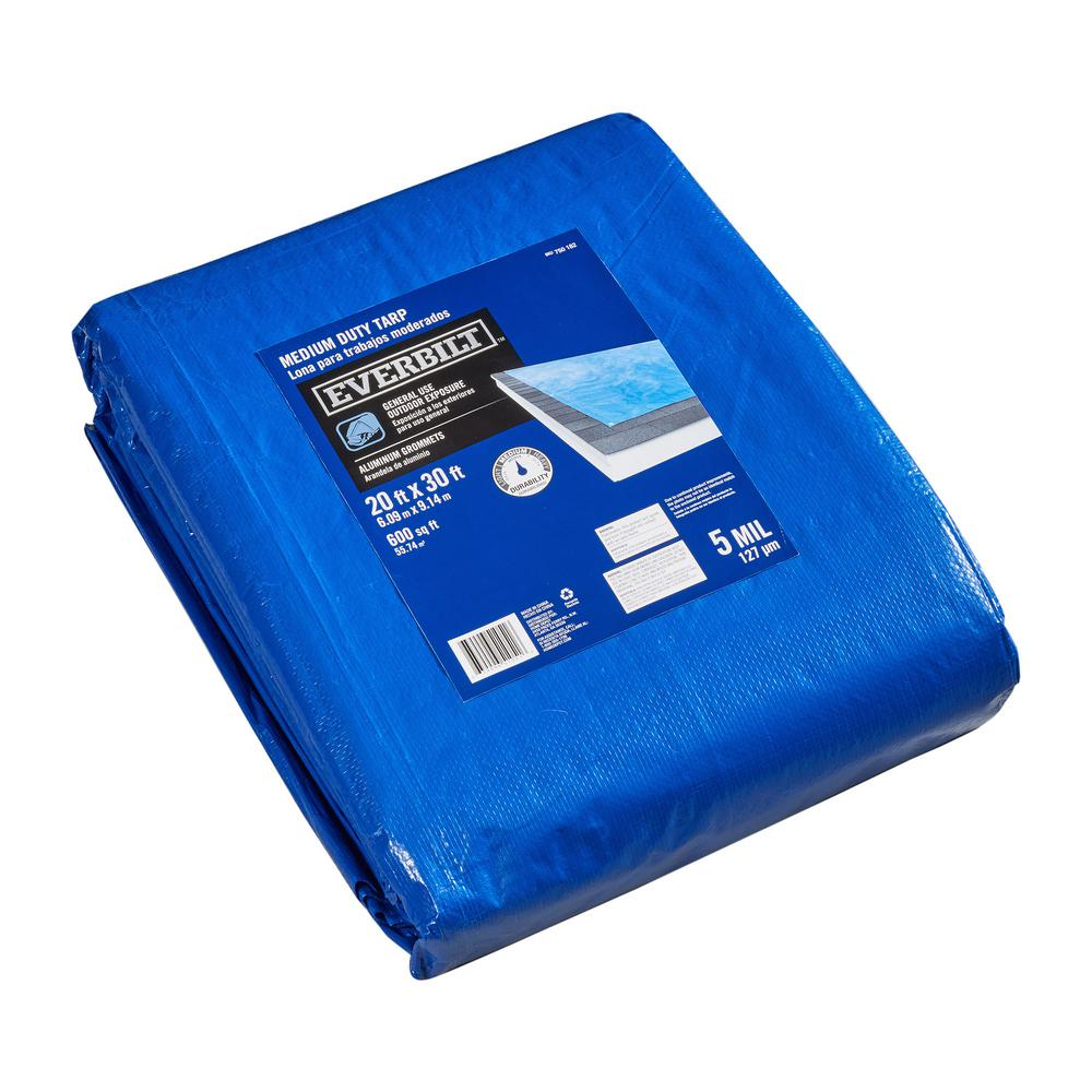 Everbilt 20 ft. x 30 ft. Blue Medium Duty General Purpose Tarp