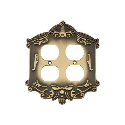 Victorian Switch Plate with Double Outlet in Antique Brass