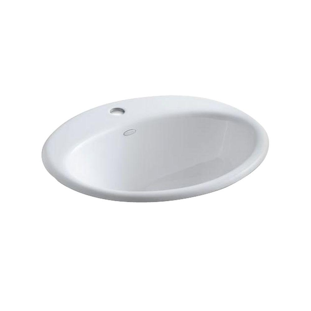 KOHLER Farmington Drop-In Cast Iron Bathroom Sink in White with Overflow Drain