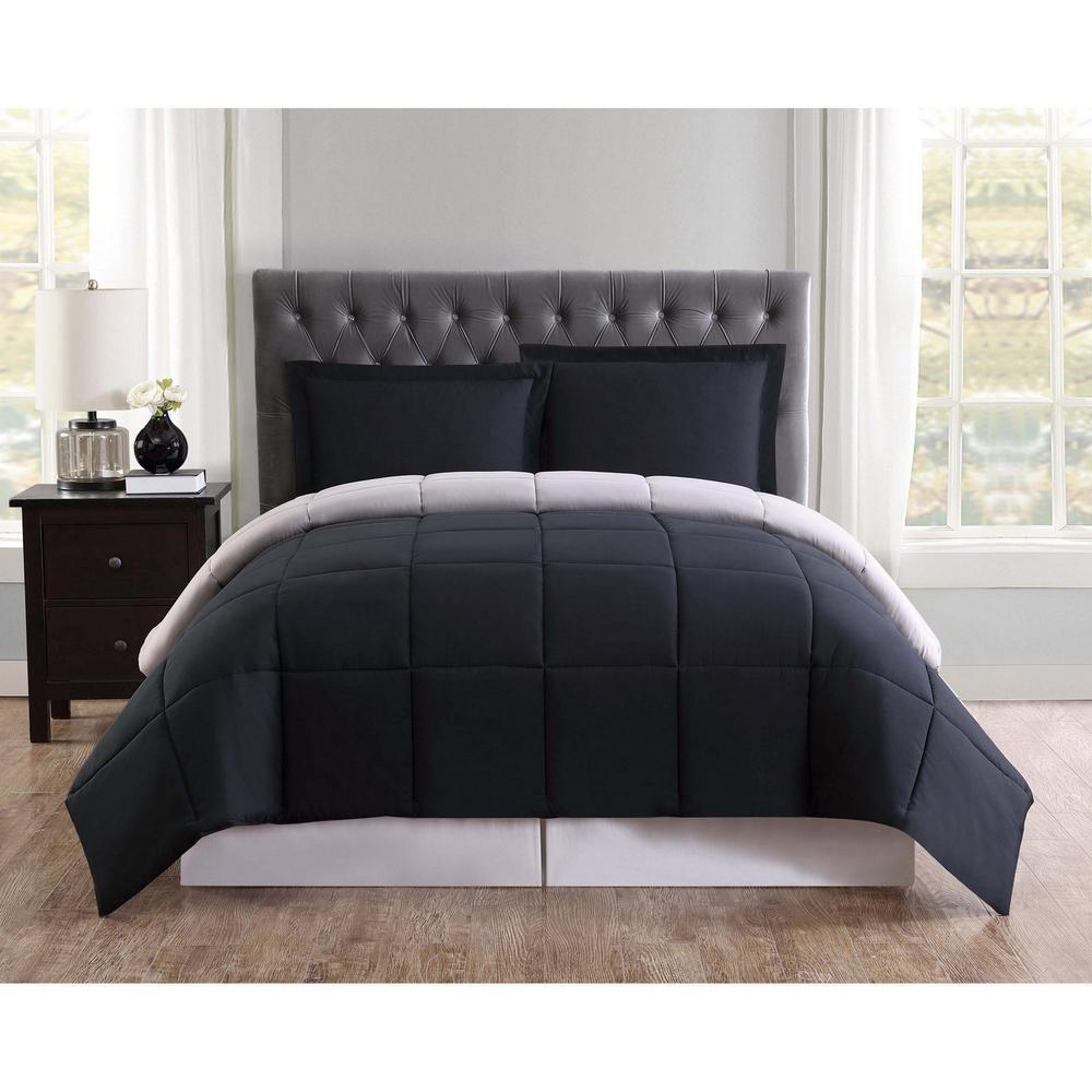 Black and Grey Reversible Queen Comforter Set