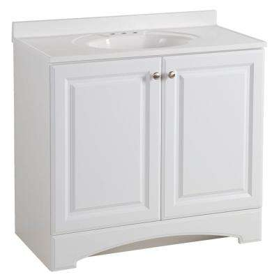 37 in. W x 36 in H x 19 in. D Bathroom Vanity in White with Cultured Marble Vanity Top in White with White Sink