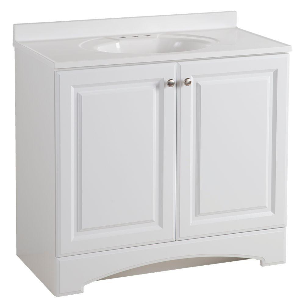 37 in. W x 36 in H x 19 in. D Bathroom Vanity in White with Cultured Marble  Vanity Top in White with White Sink