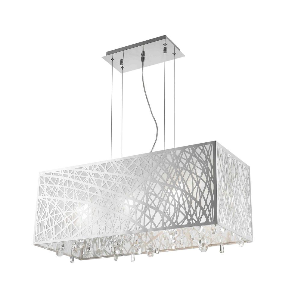 Worldwide Lighting Julie 6 Light Chrome Rectangle Drum Chandelier With Clear Crystal Shade