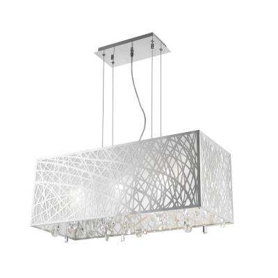 Julie 6-Light Chrome Rectangle Drum Chandelier with Clear Crystal Shade