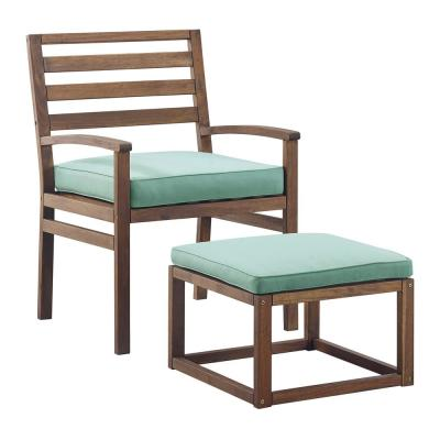 Acacia Wood Outdoor Patio Chair and Pull Out Ottoman - Dark Brown/Blue