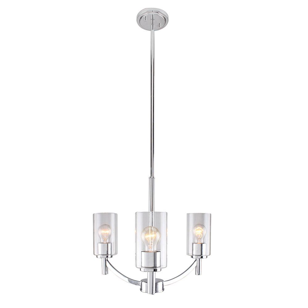 Eglo Devora 3-Light Chrome and Clear Glass Chandelier
