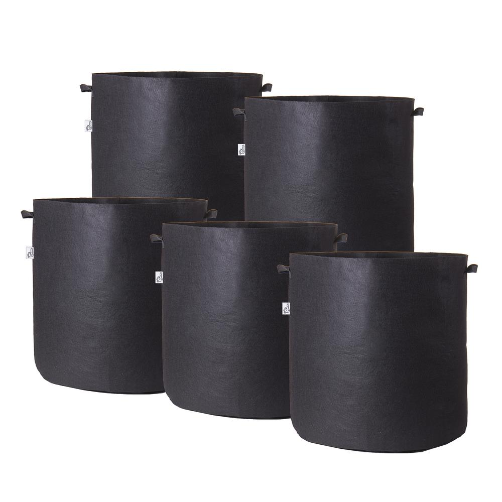 Hydro Crunch 21 in. x 19 in. 30 Gal. Breathable Fabric Pot Bags with Handles Black Felt Grow Pot (5-Pack)