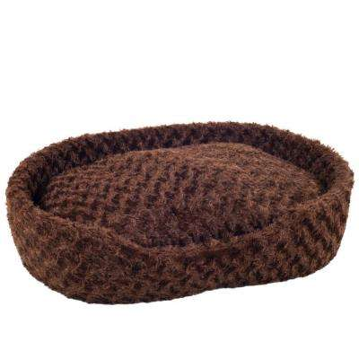 Large Brown Cuddle Round Plush Pet Bed